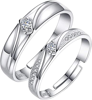 Amazon Com Randolly Rings Diamond Encrusted Open Geometric