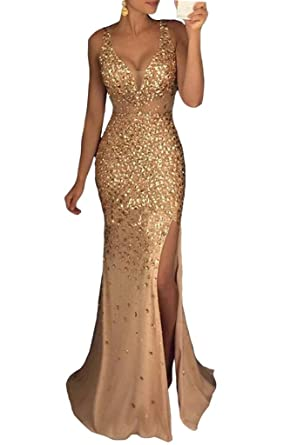 Womens Beaded Side Slit Prom Gown V Neck Backless Long Evening Dress at Amazon Womens Clothing store: