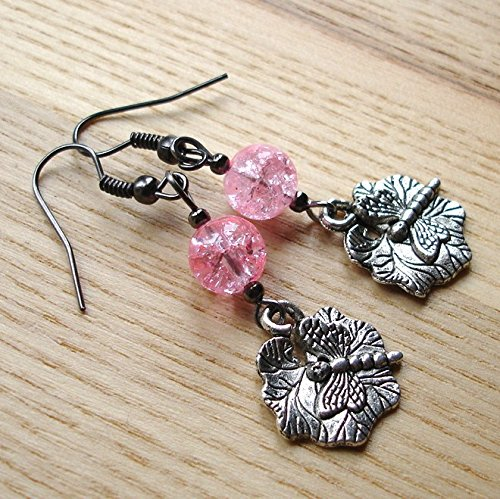 Dragonfly Tibetan Silver Charm Earrings With Pink Glass Beads Gift