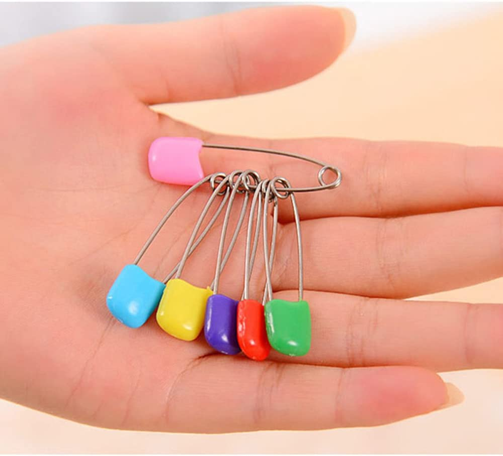 Stainless Steel Traditional Safety Pins for Fabric Diapers Crafts Cloth Diaper Pins with Safe Locking Closures EBLLPA 50 Pcs Plastic Head Safety Pins