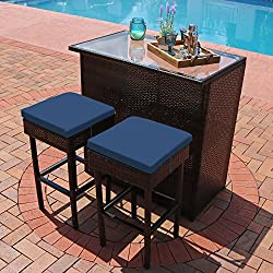 Sunnydaze Melindi 3-Piece Outdoor Patio Bar Furniture Set, Wicker Rattan - Includes Bar Table, 2 Stools, and Blue Cushions