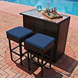 Cheap Bar Stools Set of 3 Sunnydaze Melindi 3-Piece Wicker Rattan Outdoor Patio Bar Set with Blue Cushions