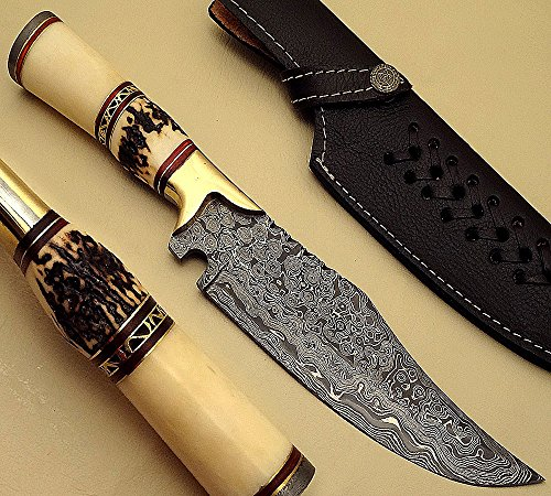 """KMS-1660,""""12 Inches"""", Handmade Damascus Steel Hunting Knife with Bone and Stag Handle with Brass Rings"""