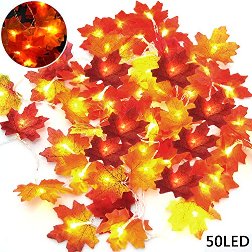 LOCOLO 2 Pieces Thanksgiving Decorations Lighted Fall Garland, 20 LED Red Fall Lights (9.8Ft), 30 LED Multicolor Maple Leaf String Lights (9.8Ft), Fall Decorations String Lights -