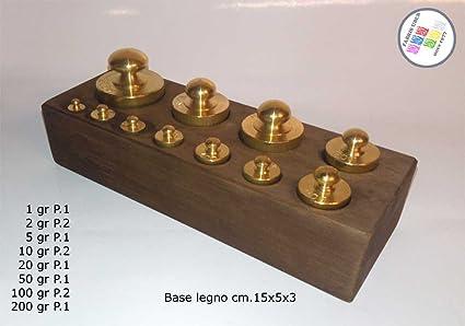 zoccoletto madera con 11 pesas Báscula de latón Varie grammature