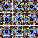 """Color y Tradicion 9 Mexican Tiles 4"""" x 4"""" Hand Painted Talavera C350"""
