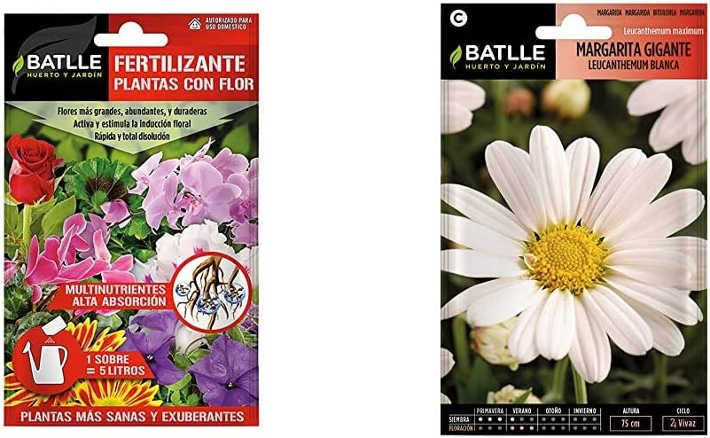 Abonos - Fertilizante Plantas con Flor sobre para 5L - Batlle + Semillas de Flores - Margarita Gigante Leucantemum Blanca - Batlle