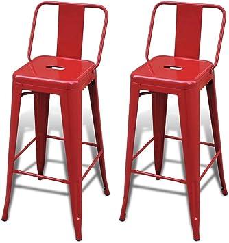 vidaXL 2 Tabourets de Bar Hauts Rouge Chaise de Bar Haute Tabourets Bar Mobilier de Bar