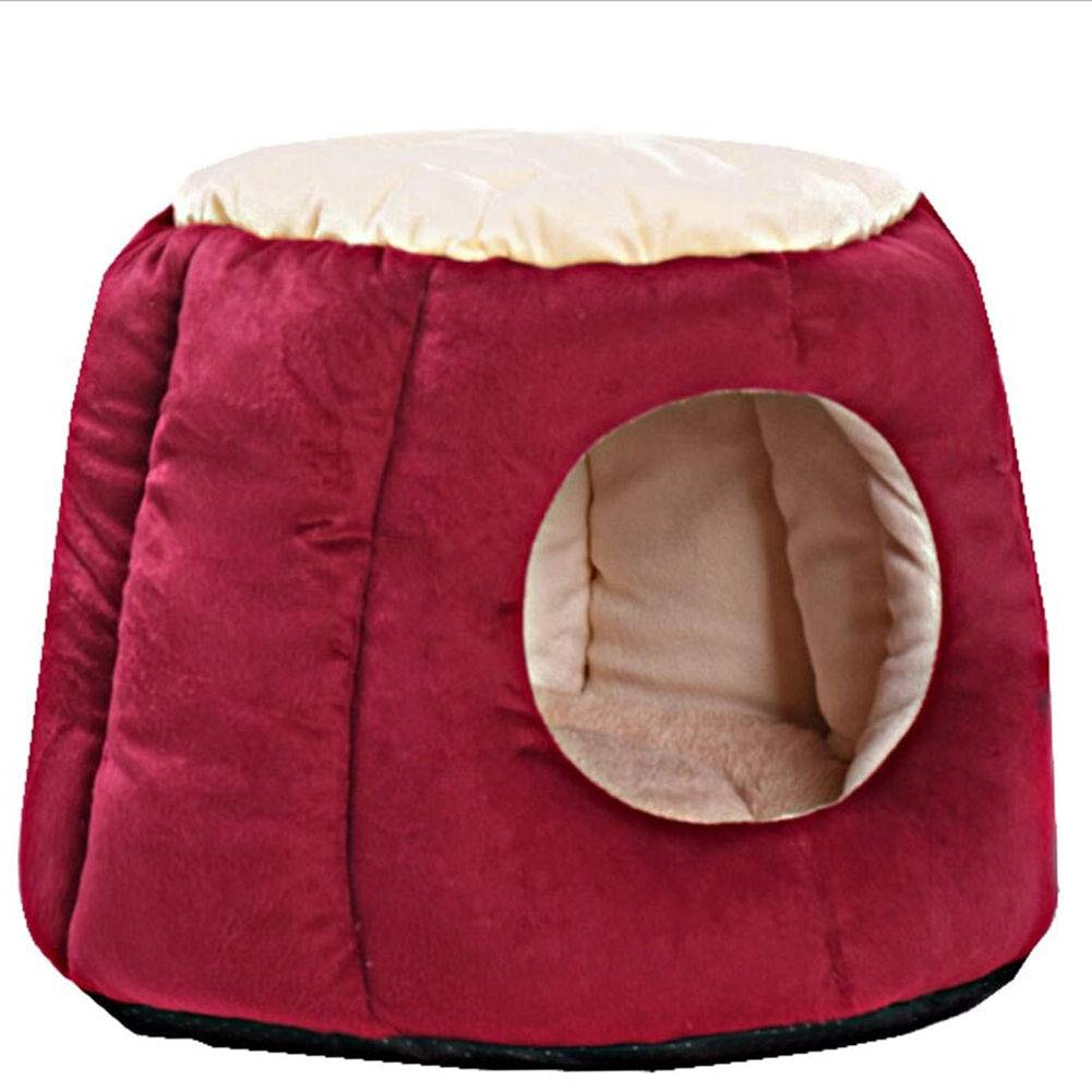 RED Medium RED Medium Cat Nest Pet Bed Cat Kennel Pet Sofa Pet Nest Dog Nest Kennel Pet Nest Pet Mat Dual-use Washable Detachable Haiming (color   RED, Size   M)