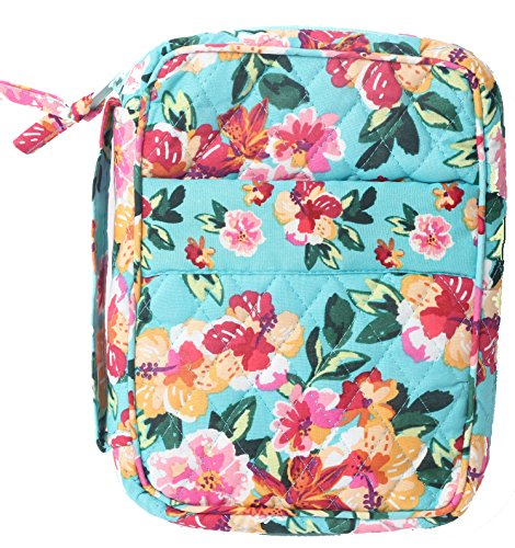 DIWI Large Sizes 10 X 7 X 2.75 inches Bible Cover Quilted Good Book Cover Quilted Cotton Fabric Bible Cover Zip Closer Slip Pocket Pink Blue (L, 1804ER Afternoon Garden) by Unknown