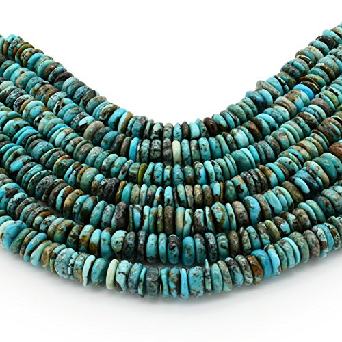 Bluejoy Genuine Natural American Turquoise 10mm Free-Form Disc Bead 16 inch Strand for Jewelry Making ()