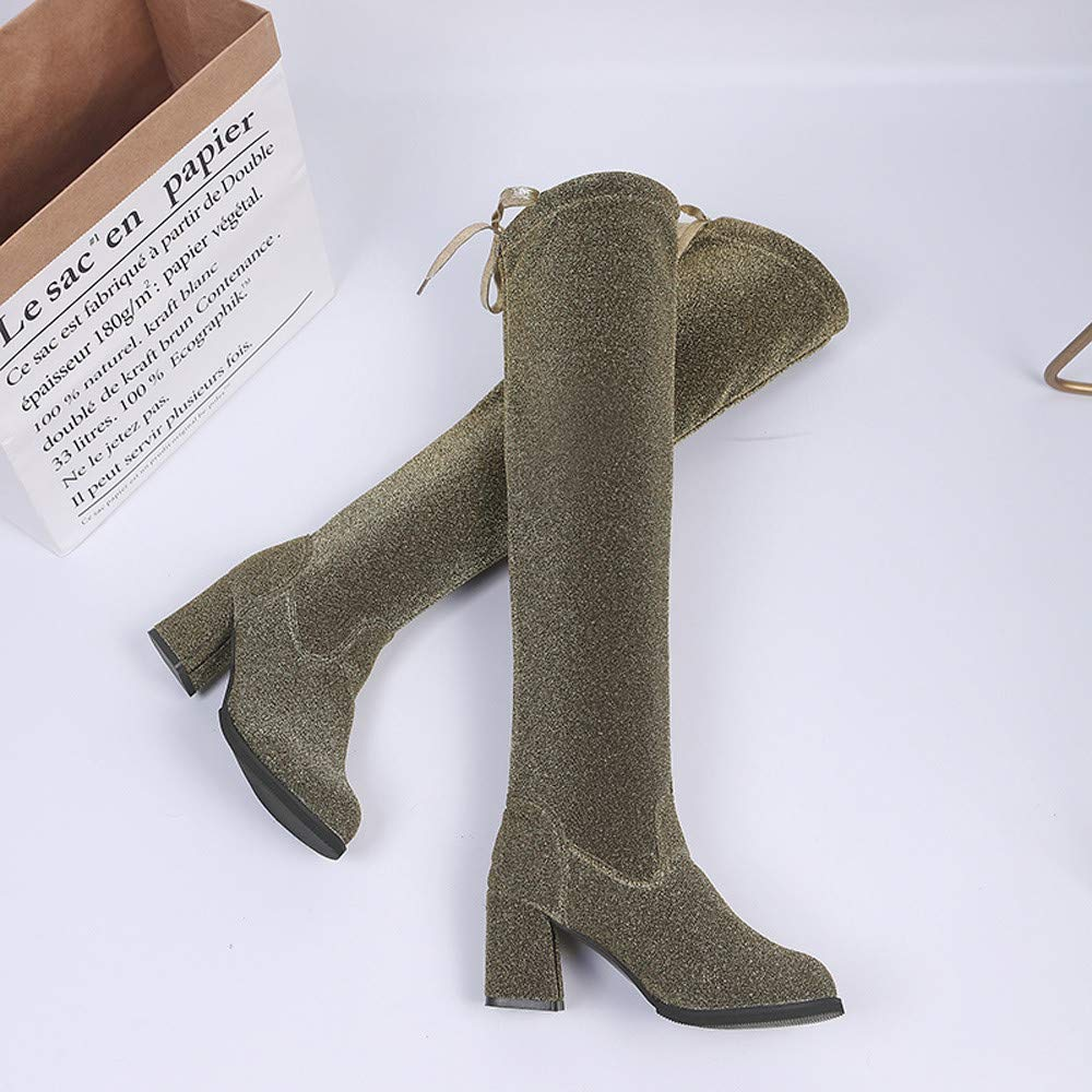 Womens Lace Up Round Toe High Boots Over The Knee Boots High Heels Martin Shoes Cosy Wild Tight Super Casual Quality for Womens