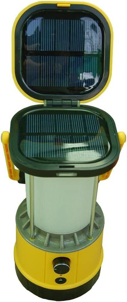 """Solar Powered Camping Lantern and iPhone Charger. 3 watt Brightness. 10"""" of Height."""