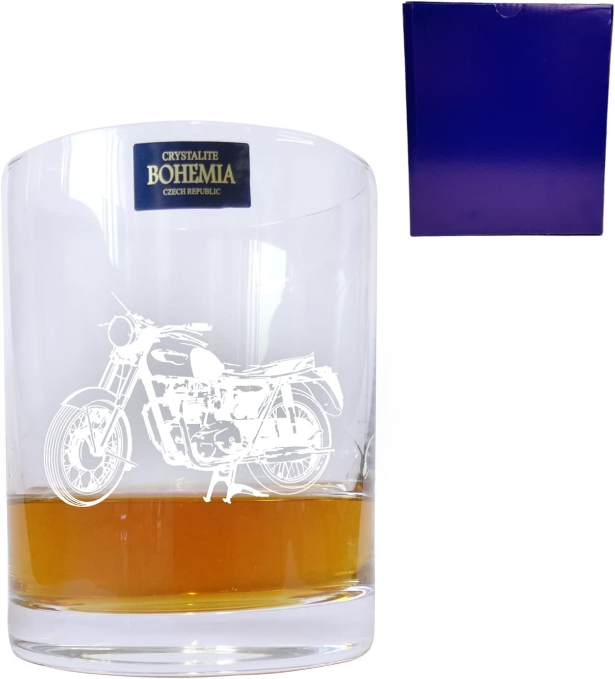 Bohemia Crystal Whisky Glass With Motorbike Design with Engraving