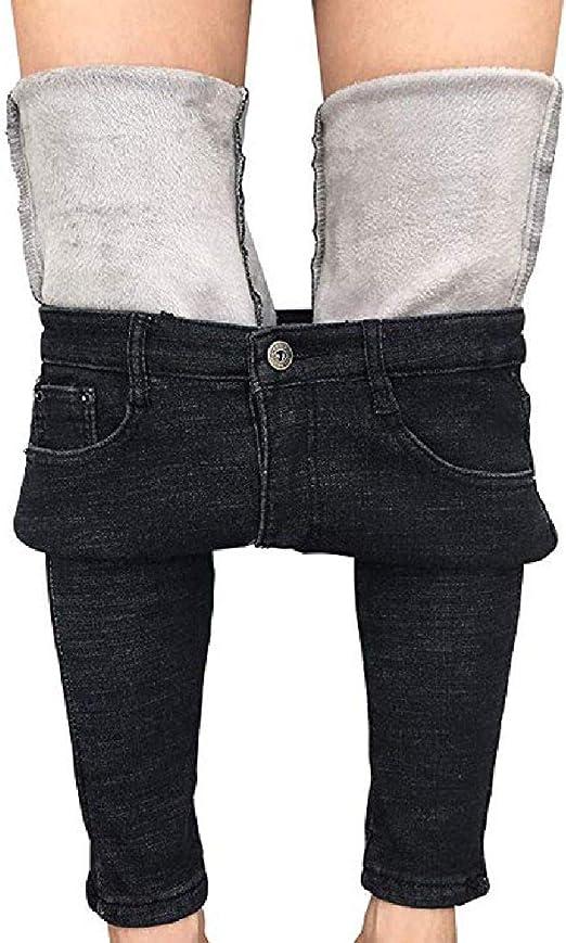 FRPE Womens Casual Stretch Fleece Slim Fit Jeans Denim Pants