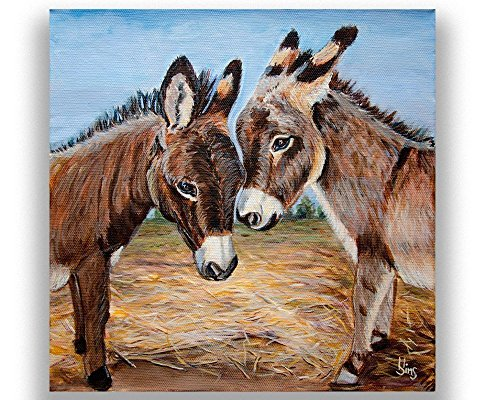 Miniature Donkeys Farm Animal Art Print Giclee for Western Farmhouse Decor, Gifts idea, mat - Western Miniature