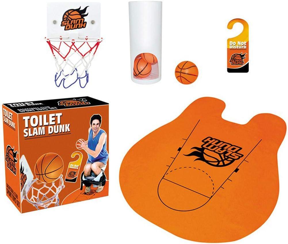 jeu de d/écompression pour salle de bain cerceau de basket-ball 3 balles et tapis de toilette Jeu de ballon de basket de toilette Slam Dunk ensemble de jouets de basket-ball avec toilettes dr/ôles