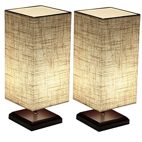 Ewalite Minimalist Romantic Solid Wood Table Lamp With Flaxen Fabric Shade Bedside Desk Lamp For Bedroom, Dresser, Living Room, Baby Room, College Dorm (Square) Set of 2 PCS - bedroomdesign.us