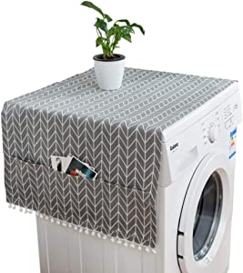 LINEN FAMILY Refrigerator Fridge Dust-Proof Cover Washing Machine Cover with Storage Pockets Bags Universal Sunscreen Covers Kitchen Decor (A)