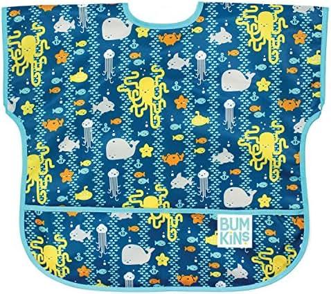 Bumkins Junior Bib / Short Sleeve Toddler Bib / Smock 1-3 Years, Waterproof, Washable, Stain and Odor Resistant – Sea Friends