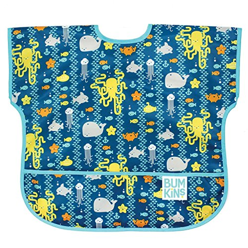 Bumkins Junior Bib / Short Sleeve Toddler Bib / Smock 1-3 Years, Waterproof, Washable, Stain and Odor Resistant - Sea Friends - Mid Thigh Smock