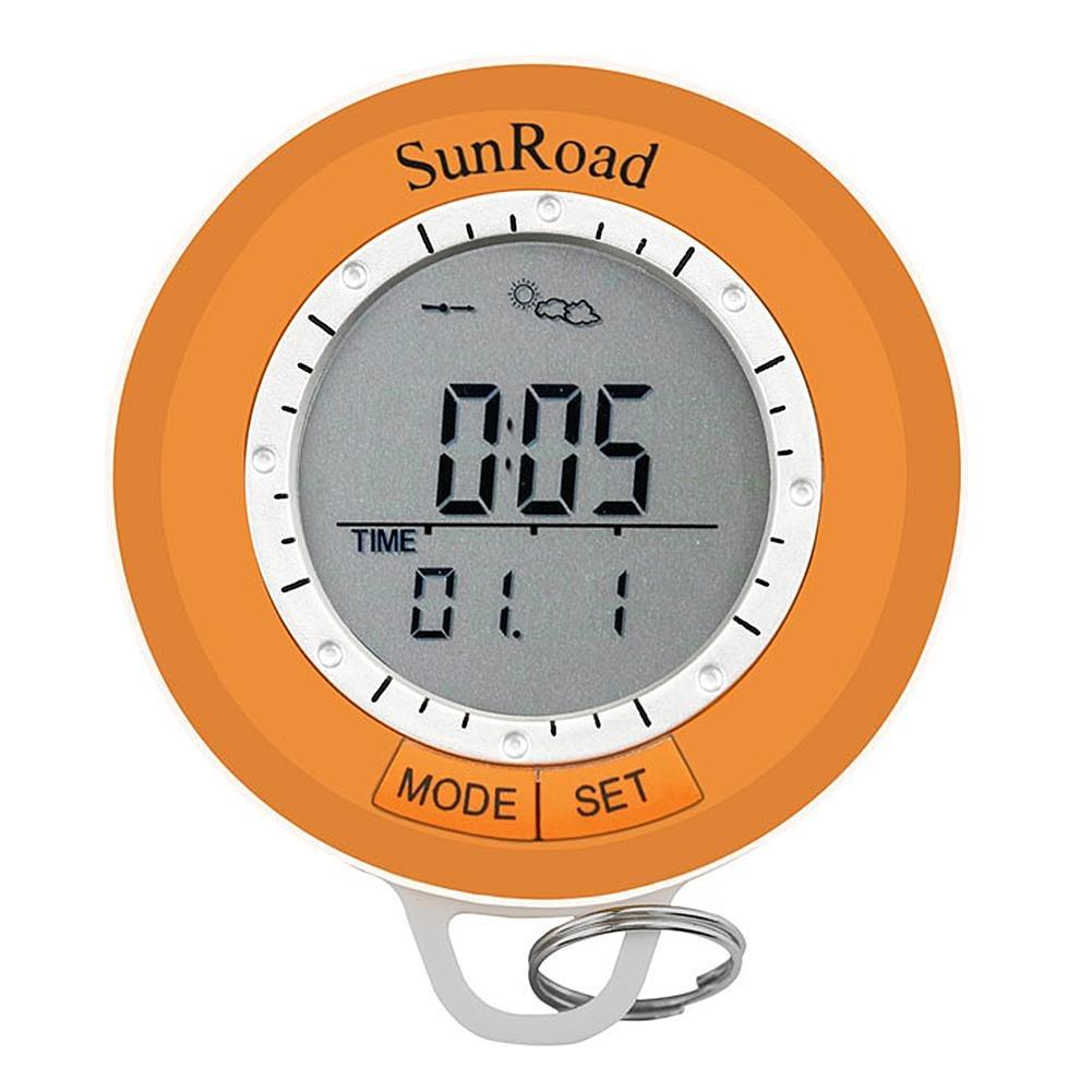 nelnissa LCD Digital podómetro Altímetro Barómetro Brújula Termómetro Mosquetón, color naranja