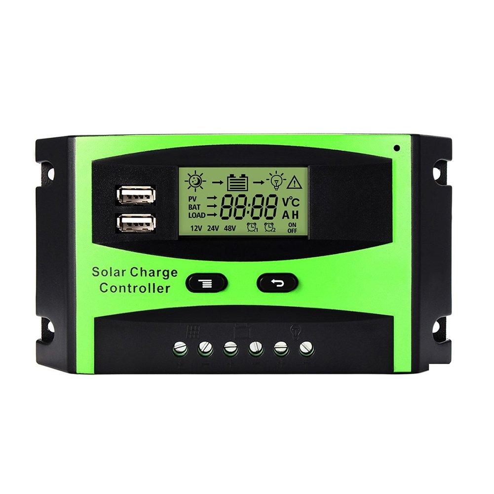 Junda 12/24 V Solar Panel Battery Intelligent Regulator Solar charge Controller Switch 30A Charging Lamp Controller w/Dual USB LCD Display