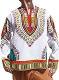 RaanPahMuang Open Collar Long Sleeve African Dashiki Print Dance To Afrika Shirt, Medium, White Multi Red