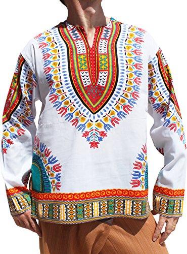 RaanPahMuang Open Collar Long Sleeve African Dashiki Print Dance To Afrika Shirt, Medium, White Multi Red by Raan Pah Muang