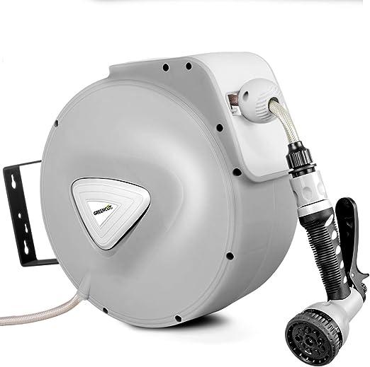 GREENCUT MNG200 - Manguera de agua de 20m con enrollador automatico, soporte de pared y presion de trabajo 8bars: Amazon.es: Jardín