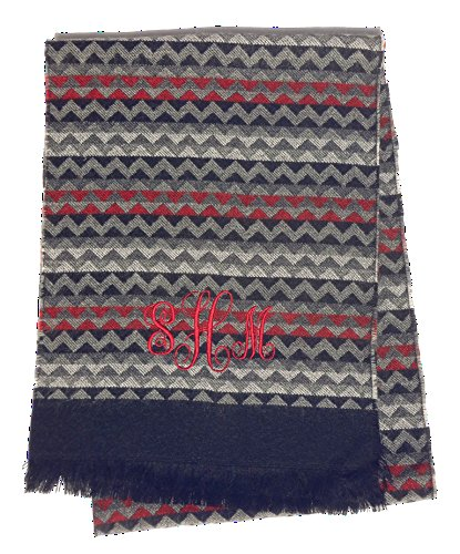 Great Custom Monogram Personalized Wide Red Gray Chevron Fashion Scarf Best Unique Cool Fun For Mother in Law Wife Women BAE Grandma Women Him Her Grandpa Adult Stocking Stuffer Gift Idea Shawl Scarve