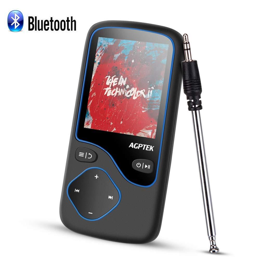 AGPTEK HiFi Reproductor MP3 Bluetooth 4.0 Conexión Inteligente, 8GB y Pantalla en Color de 1.8 Pulgadas, Radio en Modo Bluetooth con Antena, FM Grabación, Soporta Tarjeta SD hasta 128G, Negro (C5B)