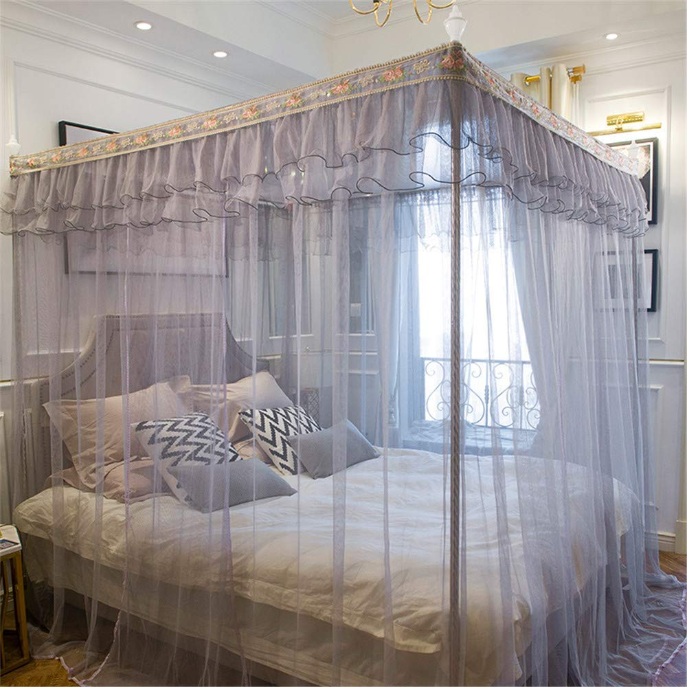 Mosquito net Home Floor Insect Proof Gauze 1.8m Bed Double 1.5m Rice Single Child Student Dormitory Summer, Gray, 2.0M by Lostryy-Mosquito Nets Baby (Image #2)