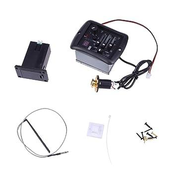 Artibetter Sistema de afinador ecualizador de ecualizador de 3 bandas Sintonizador de preamplificador de guitarra con sintonizador y control de volumen para ...
