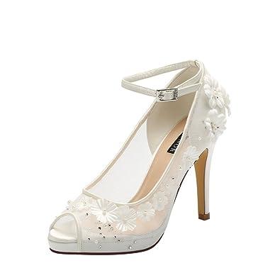 Amazon erijunor e1602 ivory white high heel pearl flower lace amazon erijunor e1602 ivory white high heel pearl flower lace ankle strap bridal wedding prom shoes size 8 heeled sandals mightylinksfo