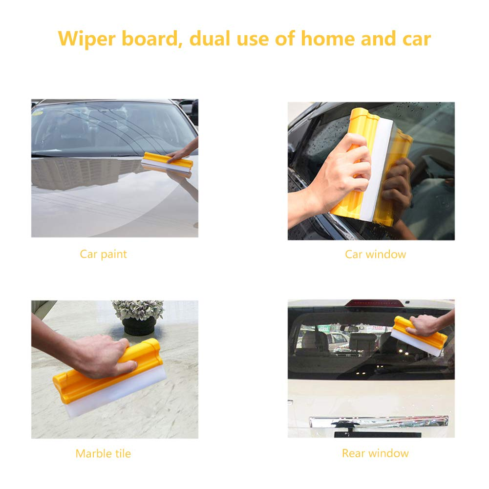 Quvivior Car Squeegee Water Blade-Silicone Squeegee with 2 Blades-Professional Automotive Wiper Blade Squeegee 1 Pack