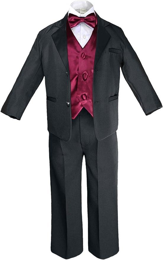 S-20 Unotux 7pcs Boys White Suit Tuxedo with Satin Lime Green Bow Tie Vest Set