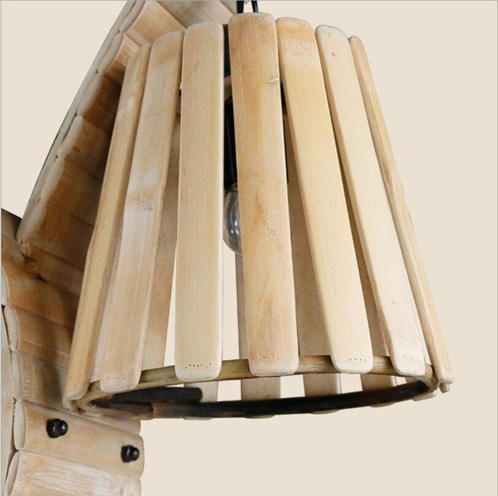 Amazon.com: FEI Lámpara de pared diseño de madera de bambú ...