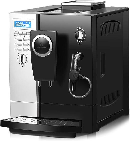 COSTWAY Máquina de Café Cafetera 1200W / Vaporizador de Leche/Auto ...