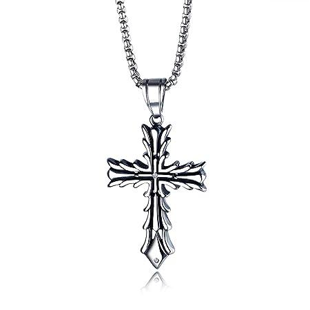 Cruz religiosa de regalo de joyería collar de acero inoxidable damas hombres para Navidad
