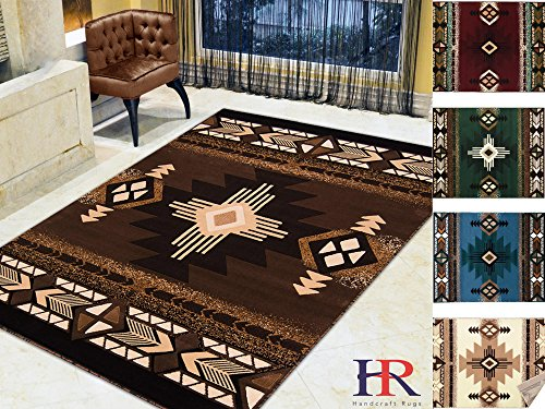 Handcraft Rugs Chocolate/Brown and Beige/Modern Contemporary Southwestern/Native American Style Area Rug (Approximately 2 by 3 Doormat) Contemporary Style Dark Chocolate