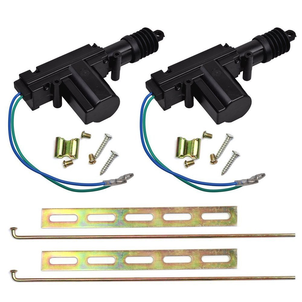 FICBOX 2 Pack Universal 12V Heavy Duty Power Door Lock Actuator Motor 2 Wire w/ Hardware