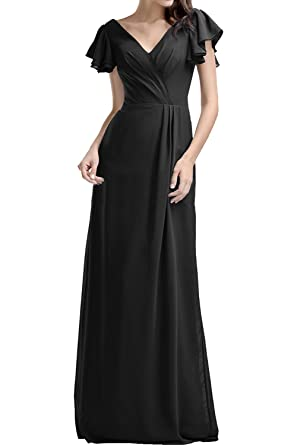 DressyMe Womens Double V-Neck A-line Prom Dress Wedding Guest Gown Sleeves-