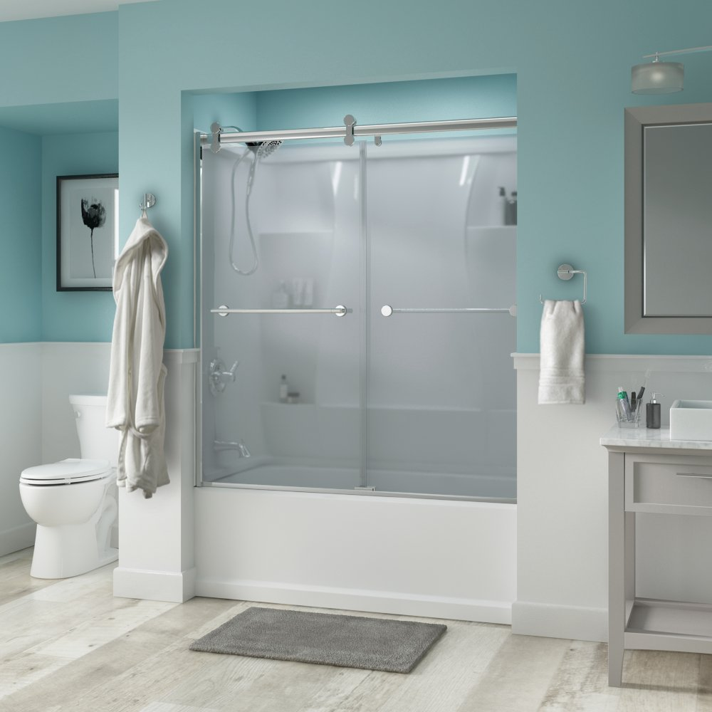 Delta Shower Doors SD3276710 Trinsic 60'' Semi-Frameless Contemporary Sliding Bathtub Door in Chrome with Niebla Glass