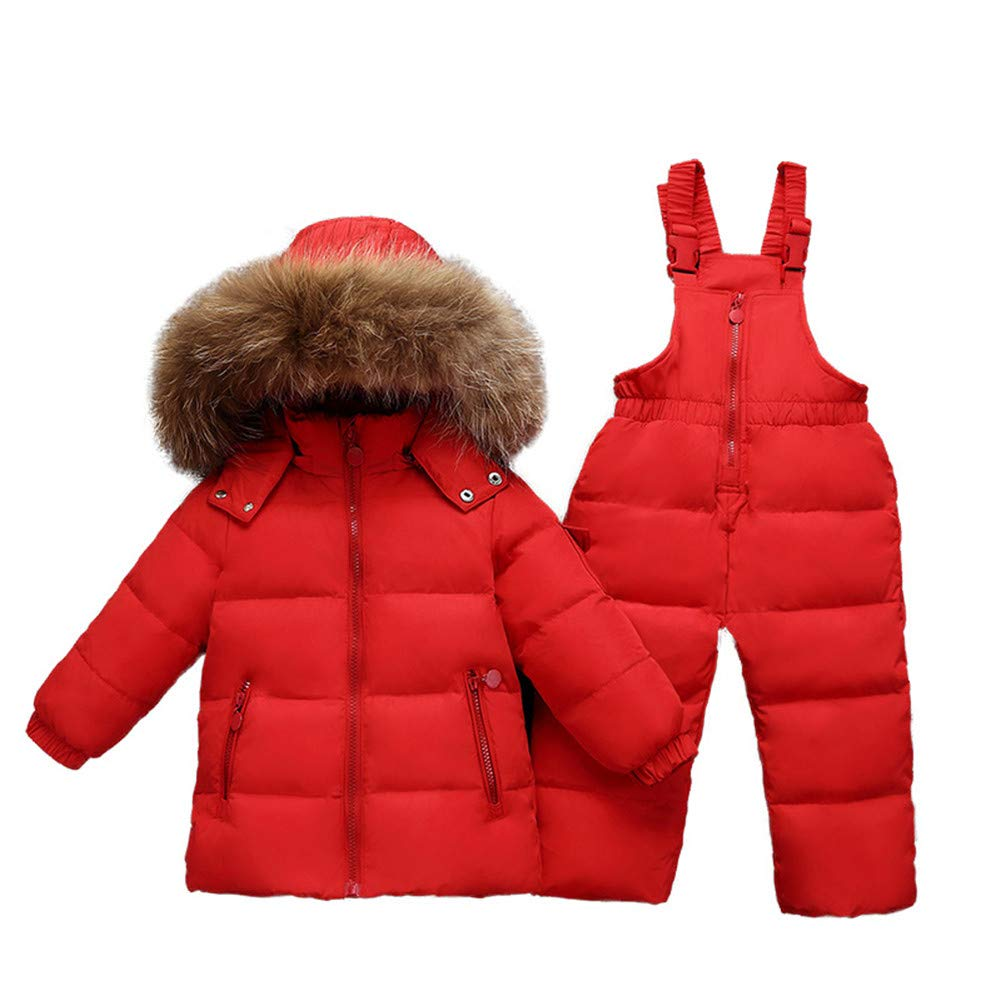 Infant Baby Girls 2Pcs Warm Snowsuit Winter Long Sleeve Zip Hooded Duck Down Jacket+Zipper Bib Pant
