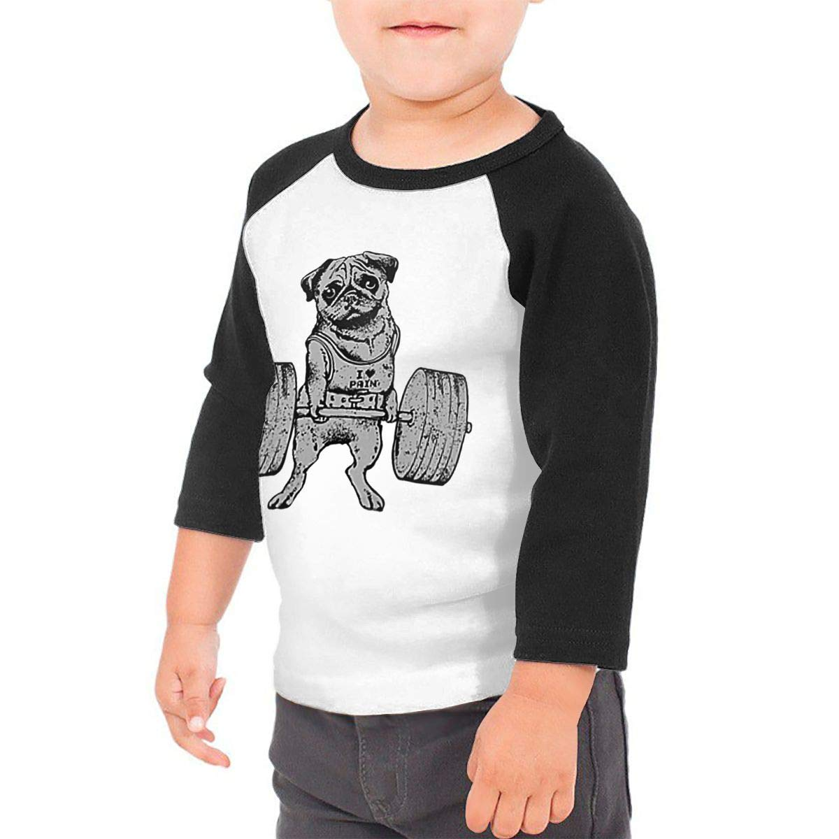 yimo Pug Weightlifting Unisex Toddler Baseball Jersey Contrast 3//4 Sleeves Tee