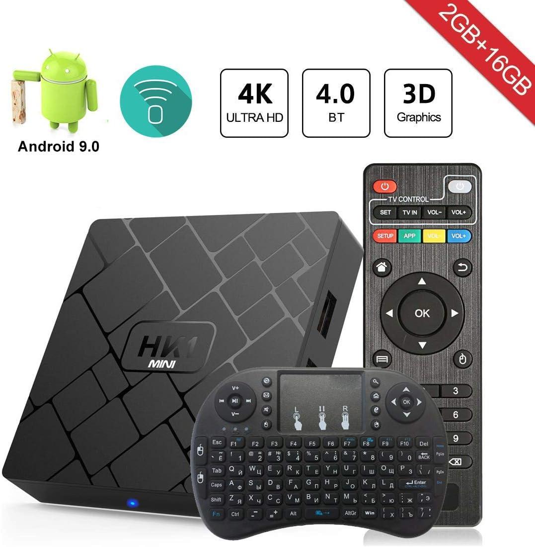 2GB 16GB Android 10 Compatible con 4K 3D Android TV Box RK3229 Dual-WiFi 2.4g 5g Smart TV Box con Mini Teclado