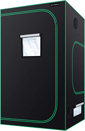 MAXSISUN 4×4 Grow Tent 600D Mylar Hydroponic Indoor Plants Growing Tent with Observation Window and Floor Tray 48x48x80 Grow Cabinet for 8 Plants