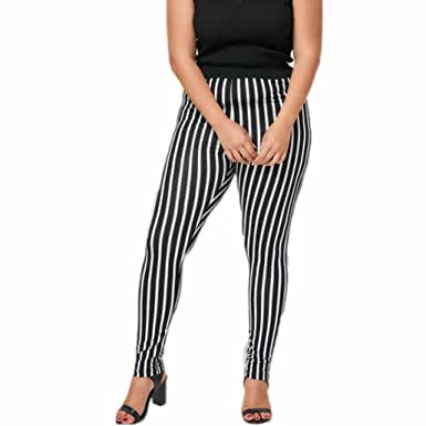 acbb14f52 Image Unavailable. Image not available for. Colour  TIFIY Women Plus Size  Stripe Elastic Skinny Leggings Summer Sexy Lightweight Breathable Sport  Pants