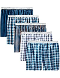 Fruit of the Loom Men's  Contemporary Plaid and Stripe Boxer(Pack of 5)